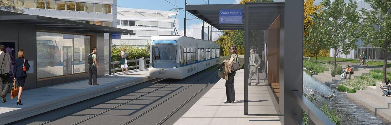 Illustration einer neuen Station mit einfahrender Glattalbahn und wartenden Passgieren.